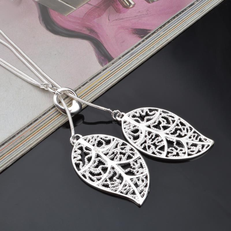 New fashion silver color big leaf pendant necklace beautiful new fashion silver color big leaf pendant necklace beautiful elegant charm silver color leaf necklace jewelry women in pendant necklaces from jewelry aloadofball Image collections