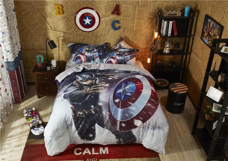 Marvel captain america couette couverture ensembles garçons de bande dessinée textile de maison en coton égyptien ensemble de literie reine taille 3D disney linge de lit