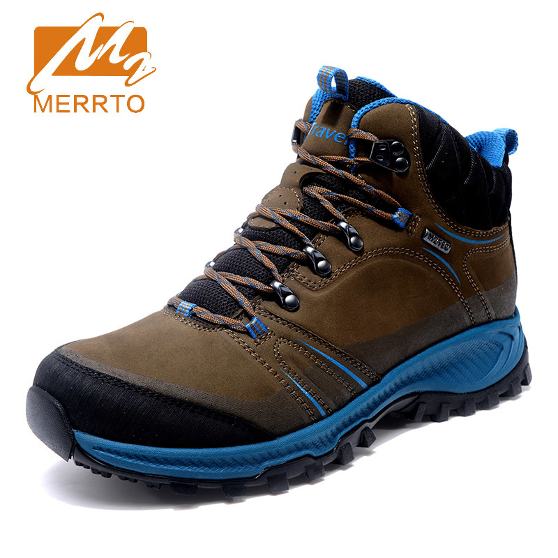 2017 Merrto Trekking Shoes for Men Hiking Shoes Suede Leather Mountain Outdoor Shoes Breathable Climbing Shoes MT18695