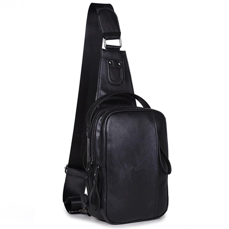 მოდის ტყავის გულმკერდის პაკეტი კაცი ერთი მხრის ჩანთები კორეის მამაკაცის ყოველდღიური საზურგე პაკეტი Sling Travel Crossbody Backpack Bolsos Hombre