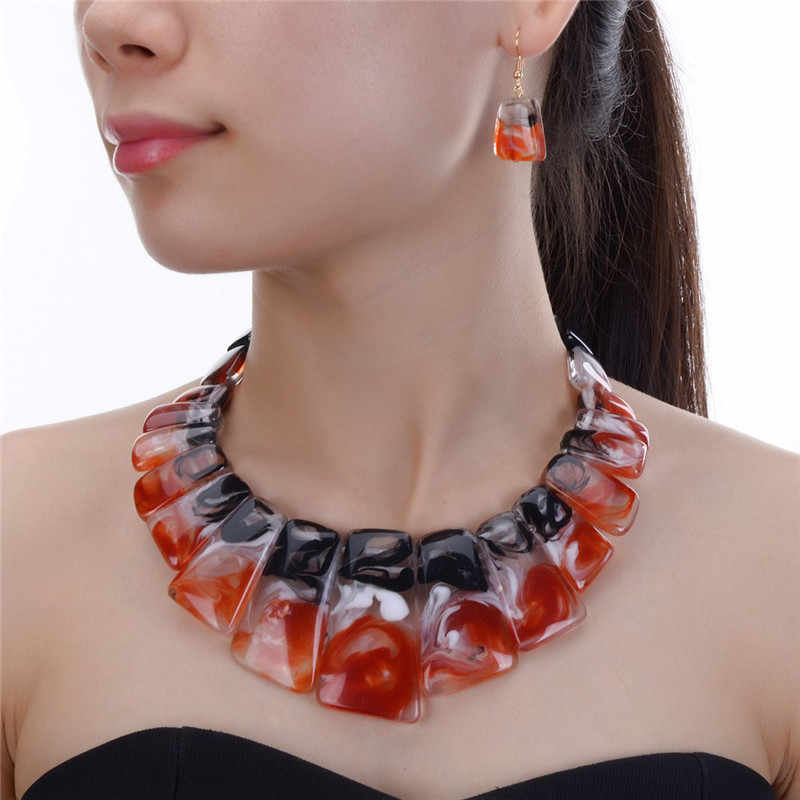 JEROLLIN Jewelry 4 Colors Bridal Wedding Fashion African Beads Jewelry Set Resin Beads Choker Necklace Earrings Sets for Women