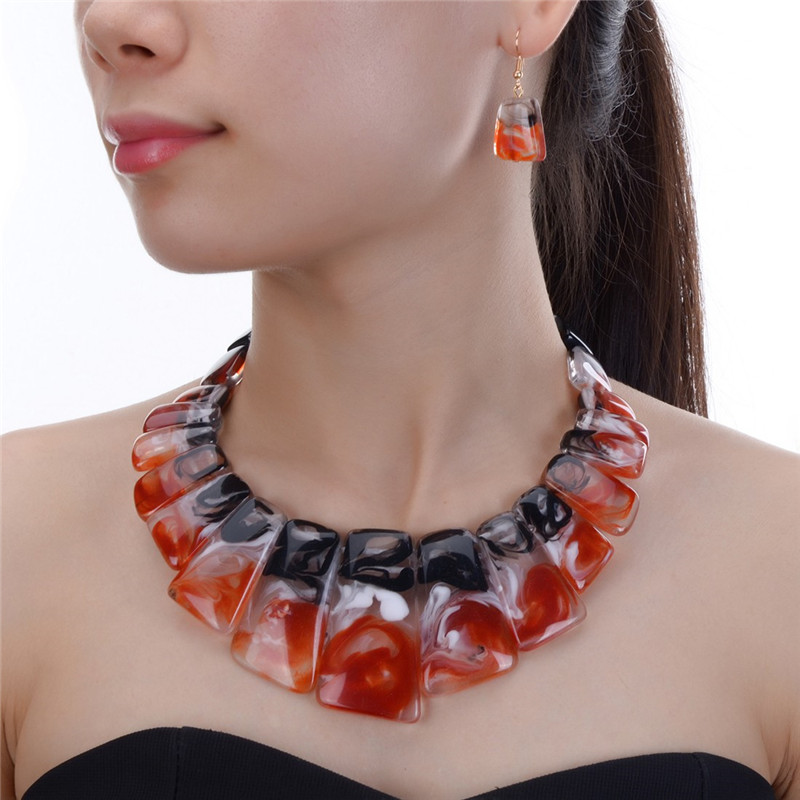 JEROLLIN Jewelry 4 Colors Bridal Wedding Fashion African Beads Jewelry Set Resin Beads Choker Necklace Earrings Sets for Women vintage tiered geo beads layered teardrop resin rhinestone choker for women