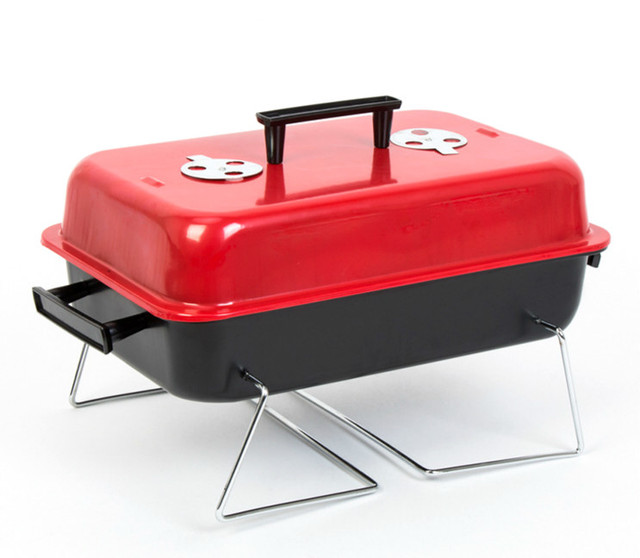 Outdoor folding BBQ grill BBQ household carbon stainless steel grill