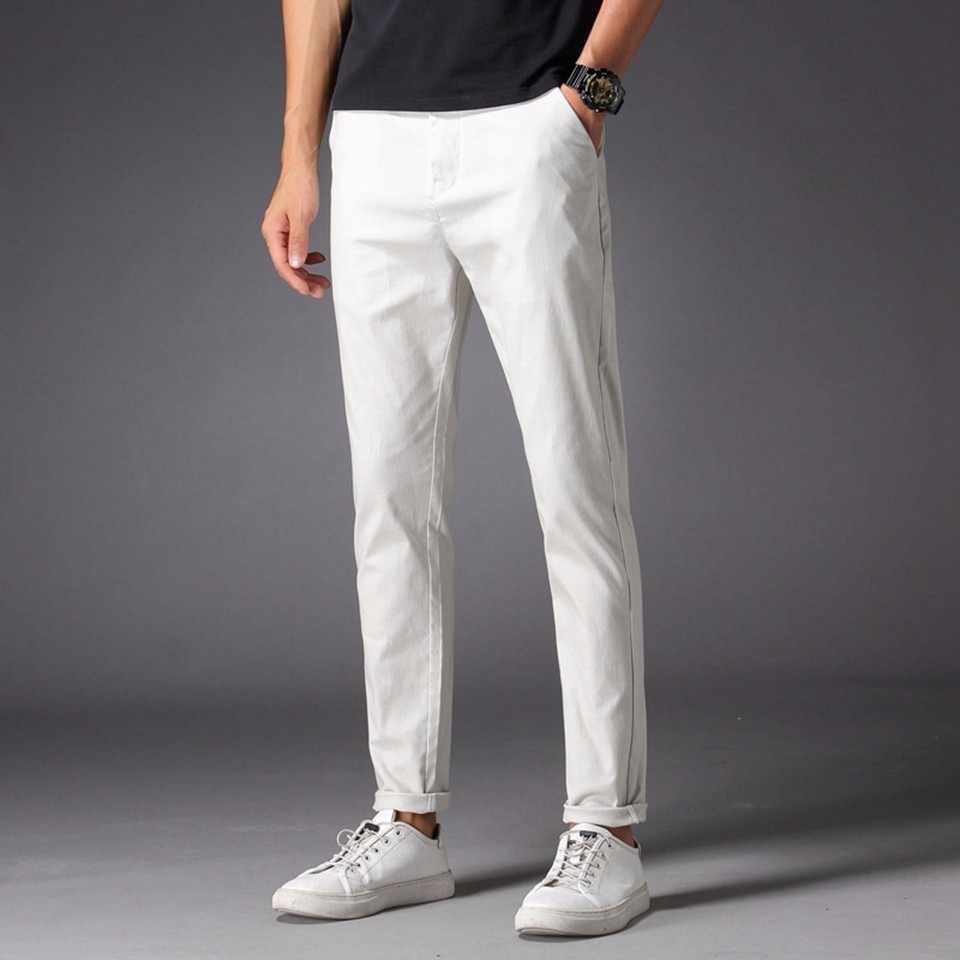 男性カジュアルパンツ 98% 綿 2% スパンデックス春夏秋ホワイトファッション男性若い全身ロングチノスリム男ズボン