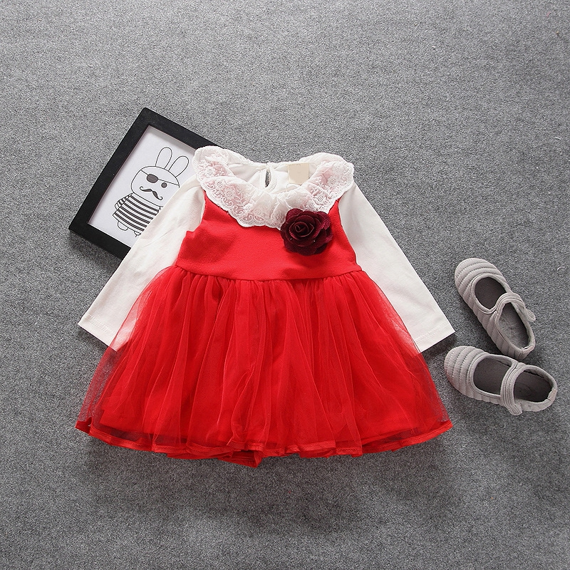 Autumn Infant Baby Mesh Flower Sundress Long Sleeve Blouse Kids Princess Party Girls 2Pcs Ball Gown