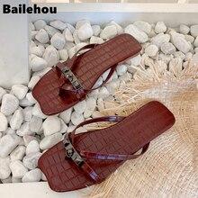 купить Bailehou Women Summer Beach Slippers Ladies Luxury Brand Flip Flops Open Toe Flat Outdoor Sandal Female Slides Shoes по цене 1145.69 рублей