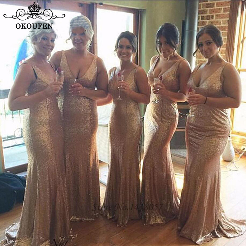 Bling Sequined Long   Bridesmaid     Dresses   Deep V Neck 2019 Sleeveless Wholesale Prince Maid Of Honor   Dress   Party For Women
