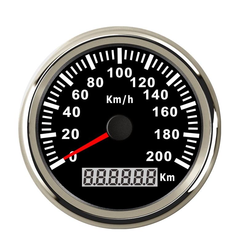 316L Bezel 85mm 12V 24V Universal Speed Gauge GPS Speedometer Odometer With Backlight 200KM/H for Car truck Marine Boat ATV UTV 52mm digital gps speedometer odometer for car boat with backlight 12v 24v red backlight