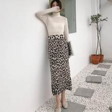 2019 Animal Print Midi Skirt Women High Waist Side Split Soft Wool Blend Leopard Bodycon Knitted Midi Skirt DV770(China)