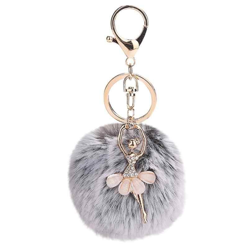 GEMIXI 8 ซม.น่ารัก Dancing Angel พวงกุญแจจี้ผู้หญิงแหวน Pompoms พวงกุญแจของขวัญผู้หญิงกระเป๋าอุปกรณ์เสริม 4.2
