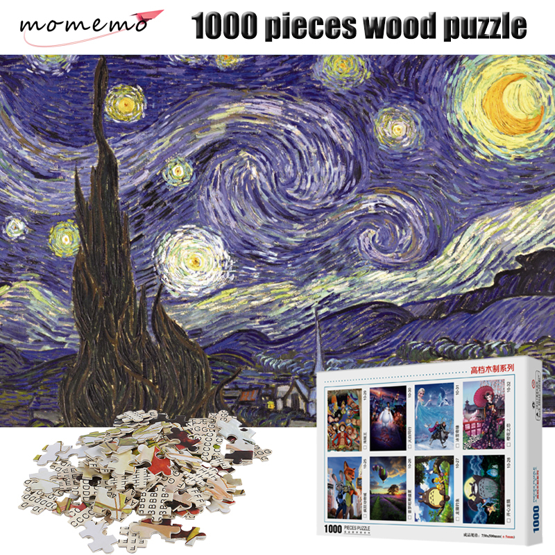 MOMEMO The Starry Night Puzzle Impressionist Painting 1000 Pieces Jigsaw Puzzles for Adults Wooden Toys Game