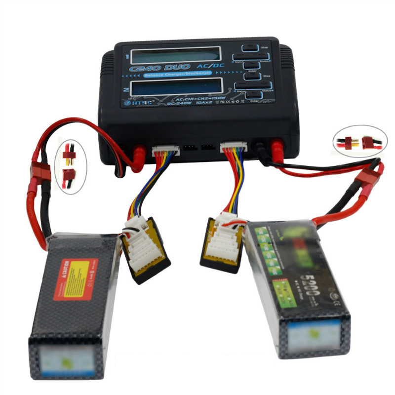 HTRC C240 DUO AC 150W DC 240W 10Ax2 Dual Channel RC Battery Balance Charger For RC Drone Quadcopter Helicopter Rechargeable Part