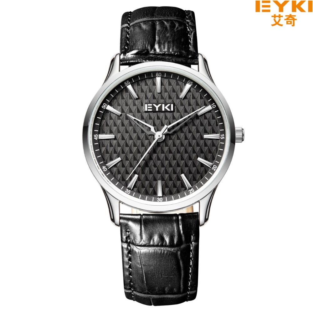 Luxury Simple Style Brand Quartz-watch Eyki Men Bracelet Watches Leather Clock Fahion Strap Lovers Wristwatch Relogio Masculino 2017 real eyki brand couple watches top luxury men s leather wrist lovers dress quartz watch waterproof relogio masculino