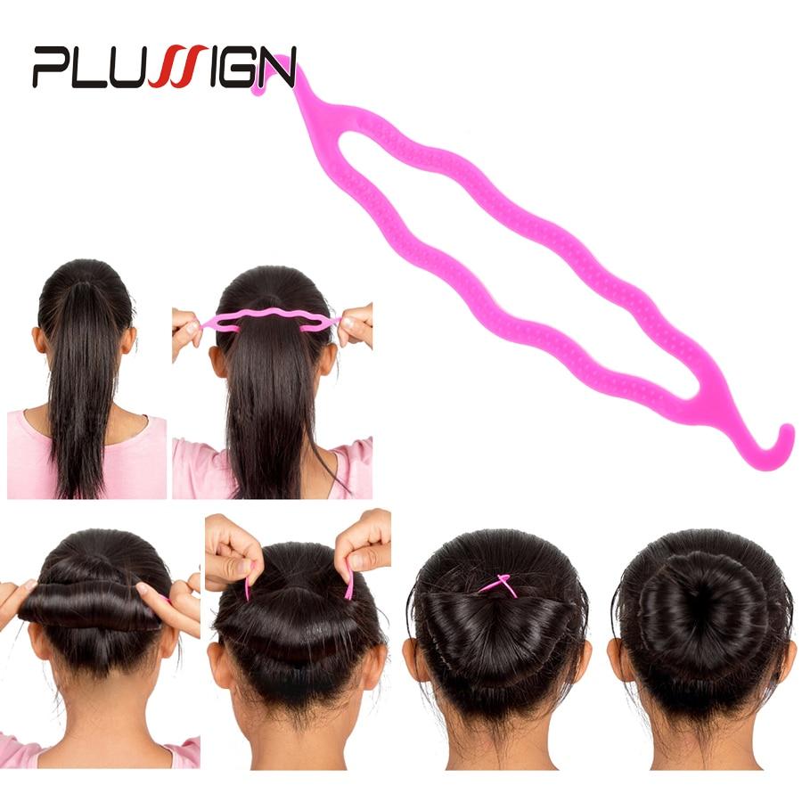 4Pcs Plastic Hair Loop Styling Hair Braiding Tools New Magic Topsy Tail Ponytail Hair Bun Maker Clip For Women Girls Hairstyles 3