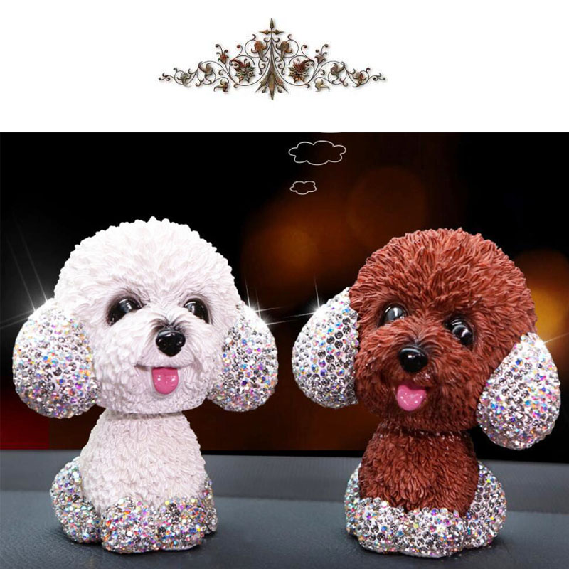 Image 3 - New Style Car Interior Ornaments Diamond Cute Dog Shaking Auto Interior Accessories Car Decoration Living Room Bedroom Girl Gift-in Ornaments from Automobiles & Motorcycles