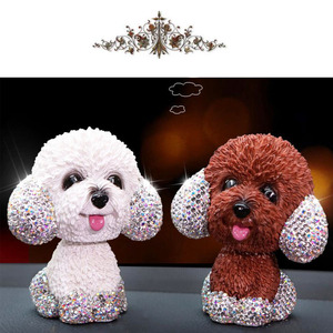Image 3 - New Style Car Interior Ornaments Diamond Cute Dog Shaking Auto Interior Accessories Car Decoration Living Room Bedroom Girl Gift