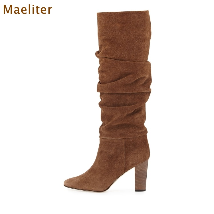 Women Chic Coffee Brown Suede Dress Boots Chunky Heels Folded Knee High Boots Thick High Heel Pleated Tall Boots Gladiator Heels