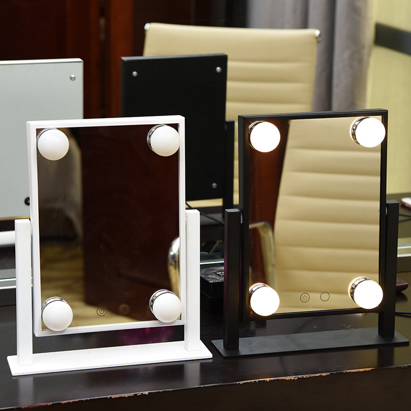 4 Bulbs Lighted Makeup Mirror Vanity with Stand Tabletop Cosmetic Touch Screen Button Led Makeup Mirror Hollywood Stage dimmable hollywood makeup vanity mirror with light large lighted tabletop cosmetic mirror with 9pcs touch control led bulbs