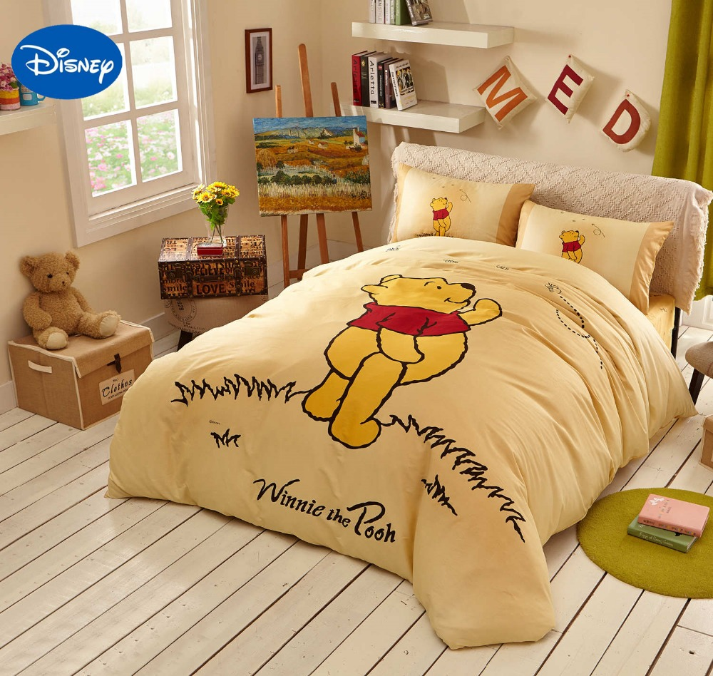 Winnie the pooh toddler bedding - Yellow Disney Cartoon Winnie The Pooh Bedding Sets For Children S Boys Girls Home Decor Cotton Bed