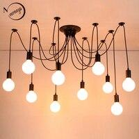 Современный Большой паук промышленные винтажные черные подвесной светильник Лофт LED 14 огни E27 подвесные светильники для гостиной рестораны...