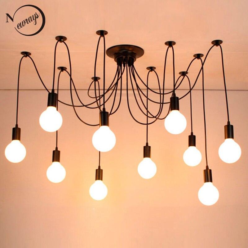 ใหญ่ใหญ่แมงมุมสีดำอุตสาหกรรม VINTAGE จี้ LOFT โคมไฟ LED 14 หัว E27 แขวนสำหรับห้องนั่งเล่นร้านอาหารห้องคร...