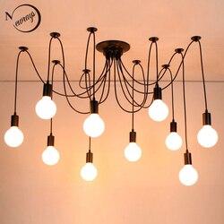 Moderna araña grande Industrial negro vintage lámpara colgante Loft 14 luces led E27 luces colgantes para sala de estar restaurantes bar