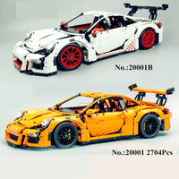 2704PCS LEPIN 20001 Technic Series 911 GT3 RS Model Building Kits Minifigures Blocks Bricks Compatible With