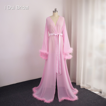 Chiffon Feather Evening Dress Long Sleeve Dressing Gown Robe Scarf Party Gown School Dance Dress
