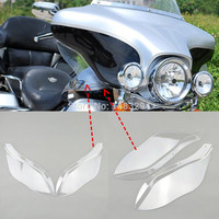 Clear Transparent Plastic Side Wing Windshield Air Deflectors Fits For Harley Davidson Touring FLHR FLHT FLHX