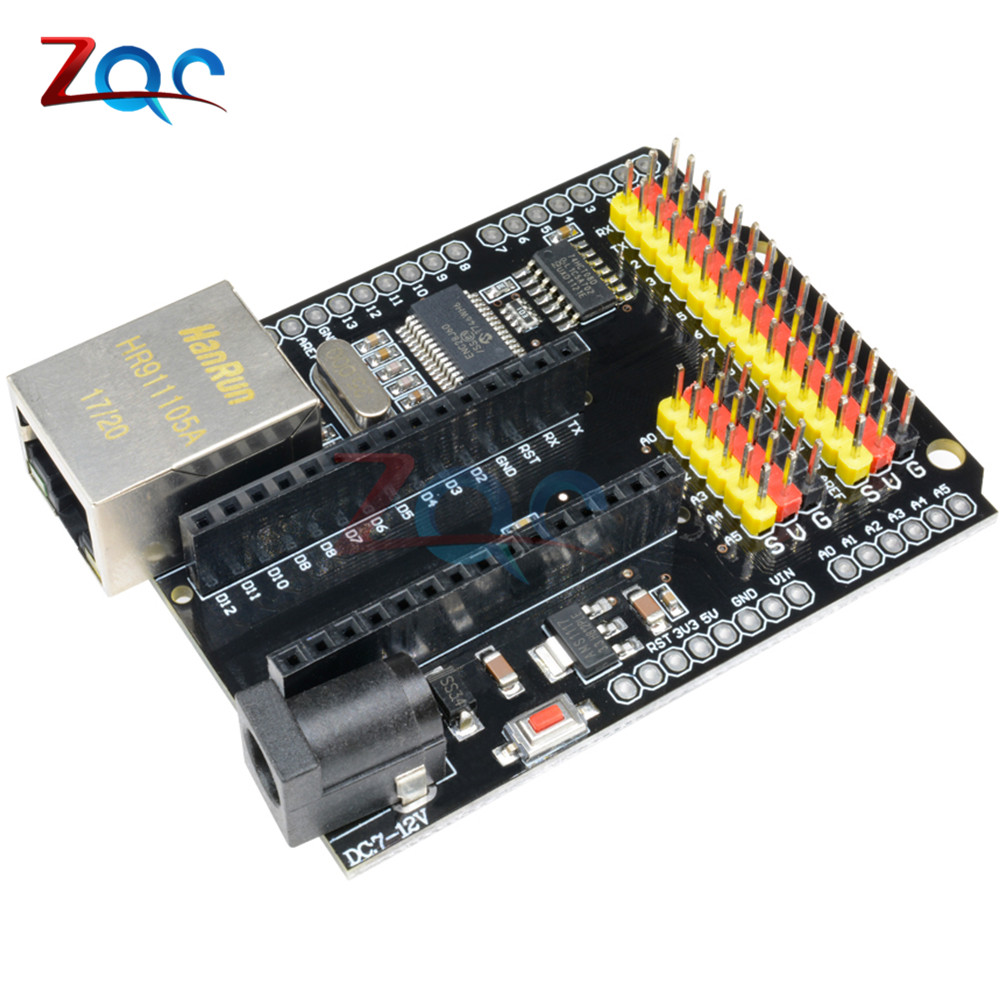 ENC28J60 Ethernet Shield V2.0 2.0 CH340G NANO V3.0 MEGA Module Expansion Board For Duemilanove Leonardo For Arduino UNO R3 One catalex arduino expansion board clock shield two wire digital module blue black