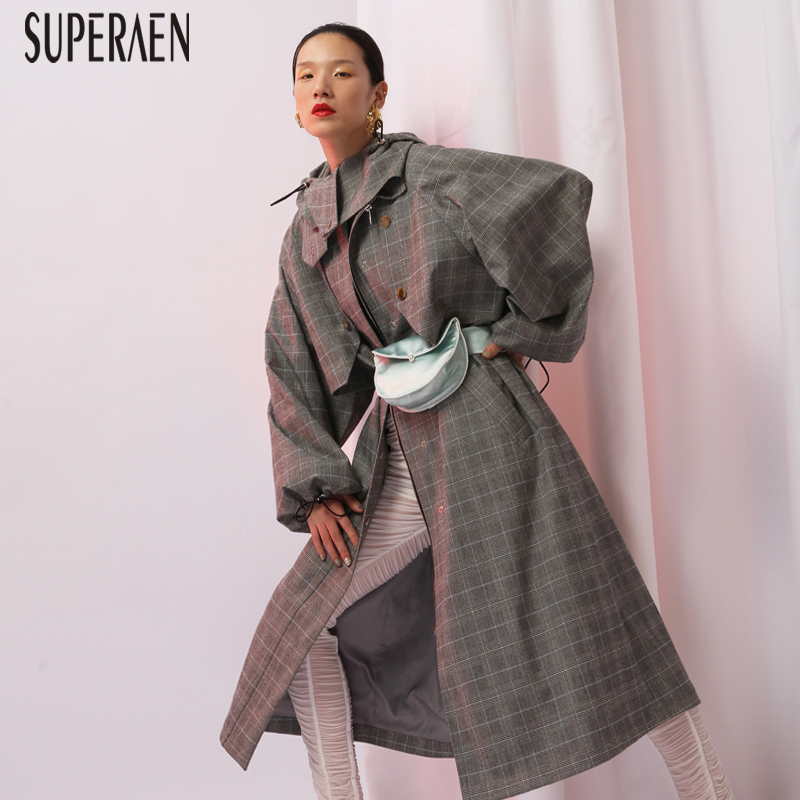 SuperAen Europe Fashion New Autumn 2018   Trench   Coat for Women Plaid Casual Cotton Ladies Windbreaker Hooded Casual Long Coats