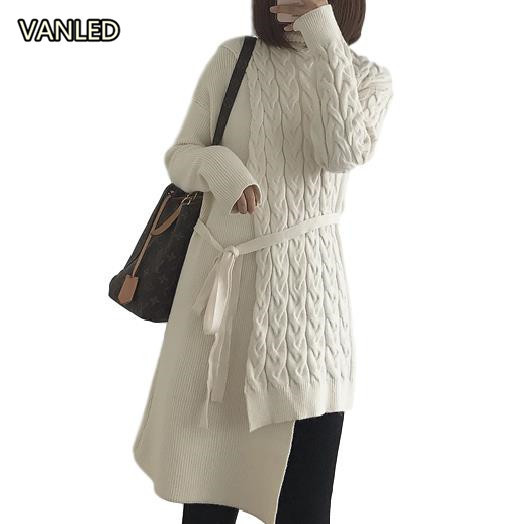 Autumn Winter Irregular Design Womens Sweater Long Knitting Criss-cross Belt Sweater Pullovers