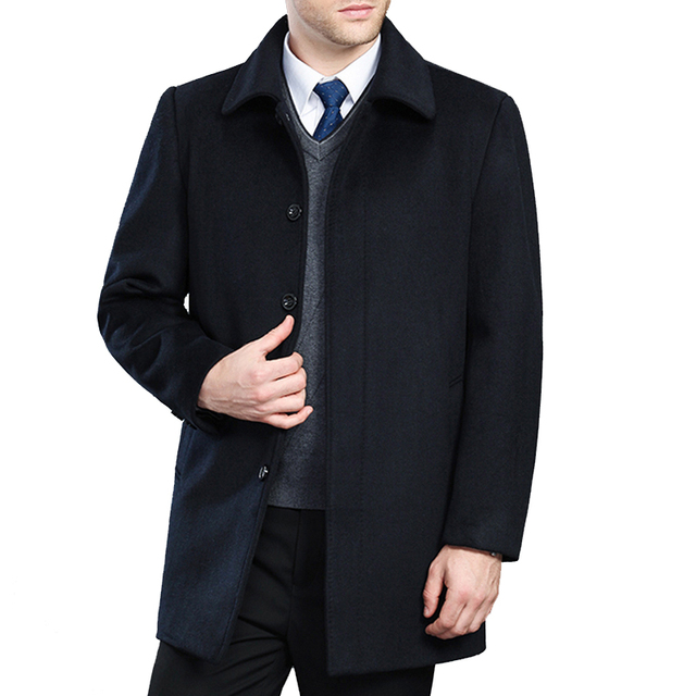 High quality cashmere coat men new style winter wool overcoat male turn down collar single breasted woolen outerwear 2 styles 2
