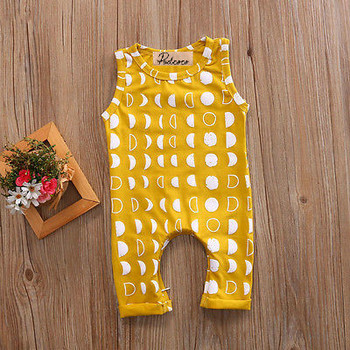 Cotton Newborn Kids Baby Boy Girl Sleeveless Romper Moon Print Clothes Outfits Baby Boys Summer Casual One-Pieces Rompers