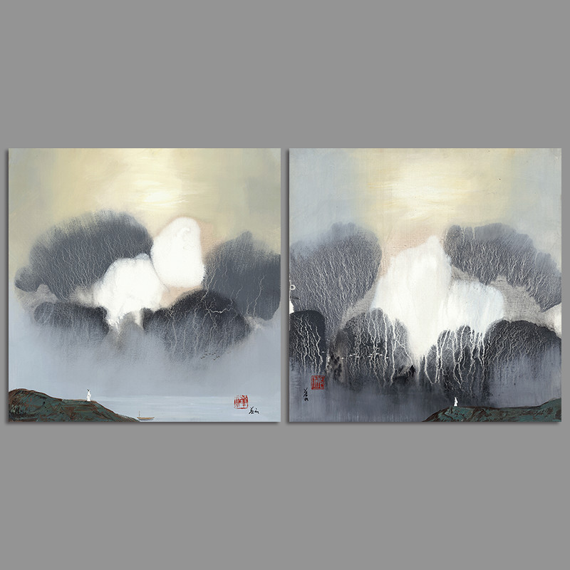 2Pcs/set Retro Chinese Style Landscape Rivers Poet Boat Decoration Wall Art Picture Canvas Paintings For Living Room Unframed