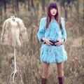 Подлинная настоящее естественная кроличий мех пальто женщины в длинная куртка пальто