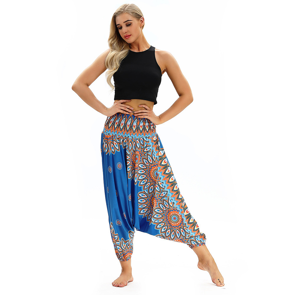 Women Men Pants Casual Woman High Waist Wide Leg Harem Trousers Baggy Boho Loose Aladdin Festival Hippy Jumpsuit Print Lady pant 98