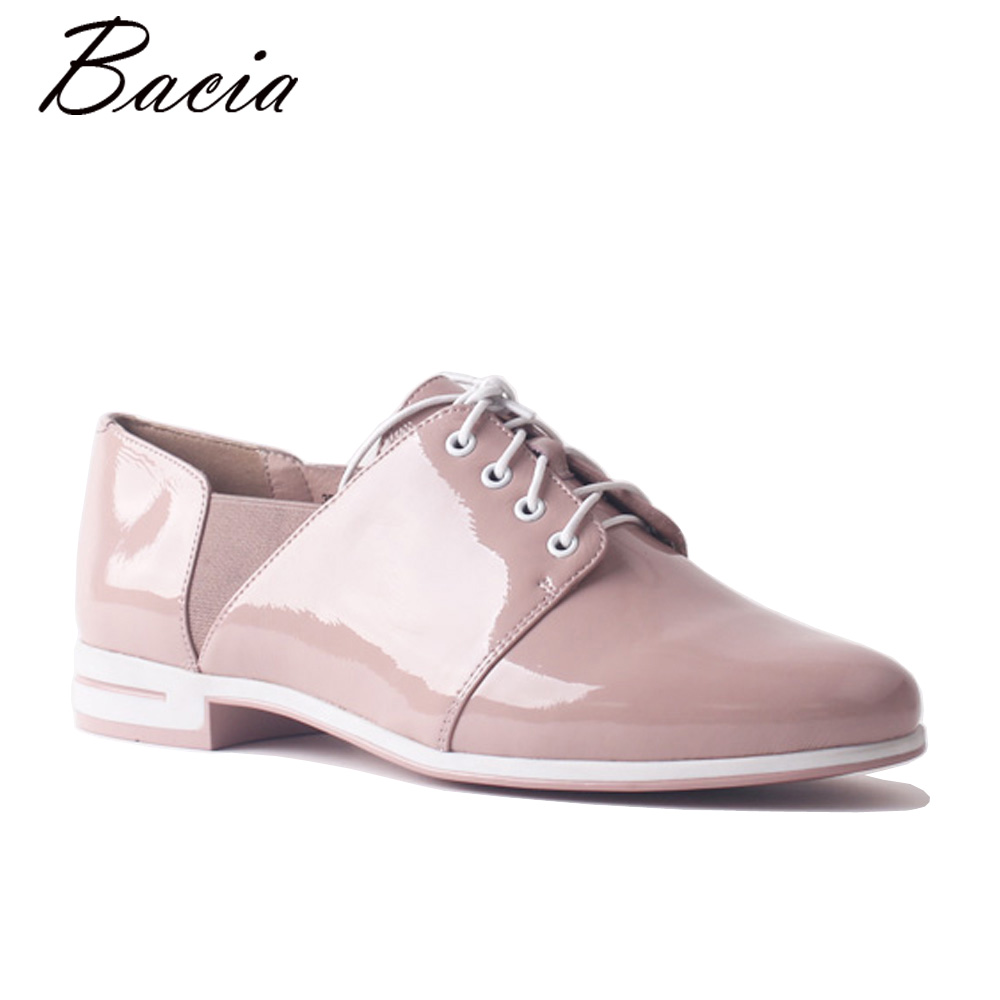 Bacia New Handmade Pink Loafers Casual Work Driving Women's Shoes Flat Genuine Leather Comfortable Sneakers Female Shoes SA093 aiyuqi 2018 new spring genuine leather female comfortable shoes bow commuter casual low heeled mother shoes woeme