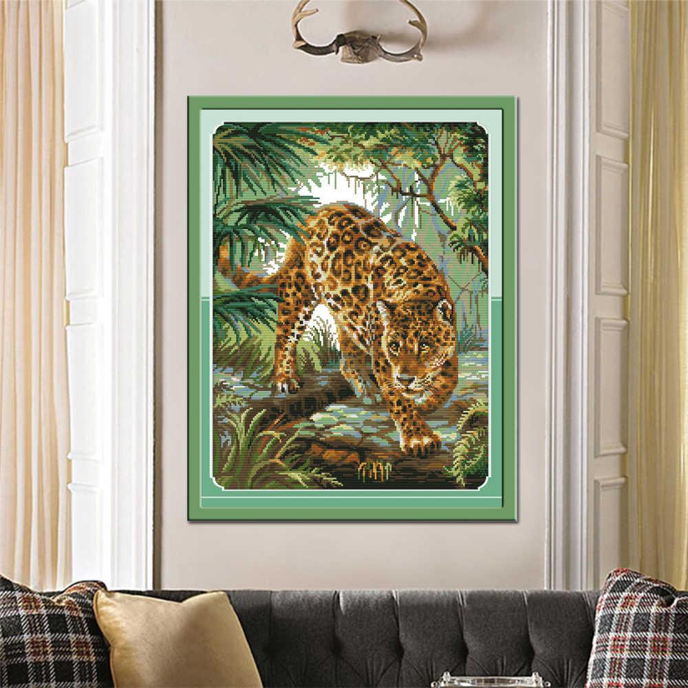 Joy Sunday Jungle Leopard вышивка крестиком DA266 14CT 11CT Счетный и штампованный домашний декор Джунгли Леопард оптом наборы крестиков