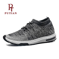 PU TIAN Breathable Mesh Men Sport Yeezys Air Socks Shoes Lace Up Male Outdoor Running Footwear