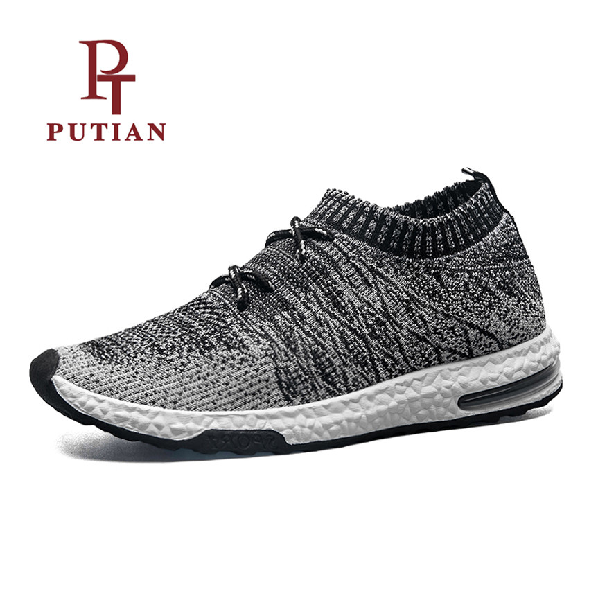 PU TIAN Breathable Mesh Men Sport Yeezys Air Socks Shoes Lace-Up Male Outdoor Running Footwear Flywire Light Athletic Sneakers lace up breathable mesh athletic shoes