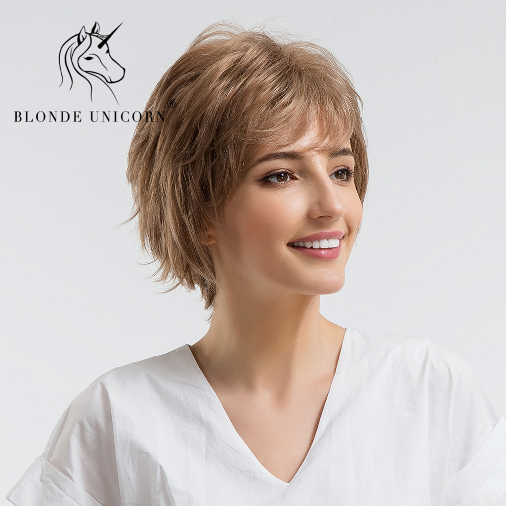 BLONDE UNICORN <font><b>10</b></font> Inch Fluffy Short Straight Hair <font><b>Wig</b></font> with Bangs Brown Natural Style 30% Human Hair Full <font><b>Wig</b></font> with Free Gift image