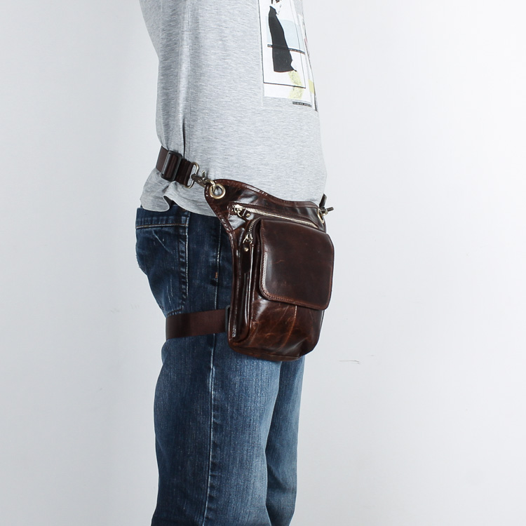 Real Leather Men Design Casual Messenger Crossbody Sling Bag - Bälten väskor - Foto 6