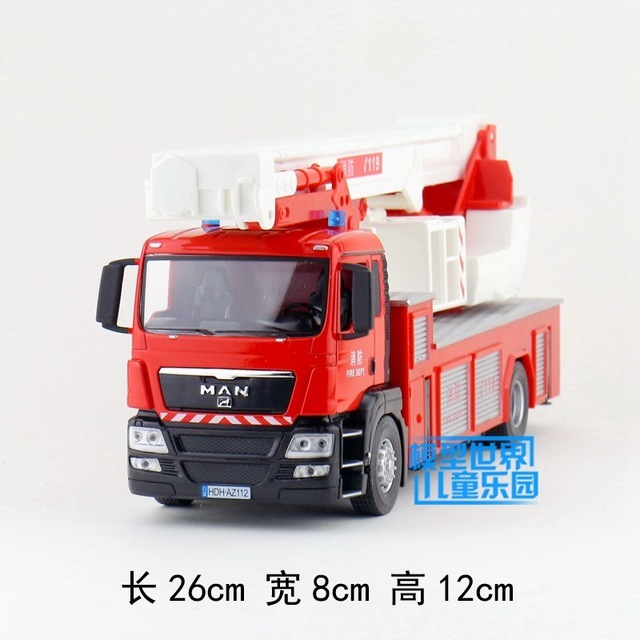 Candice guo plastic toy 1:32 JOYCITY engineering 119 aerial fire truck car plastic model collection game children birthday gift
