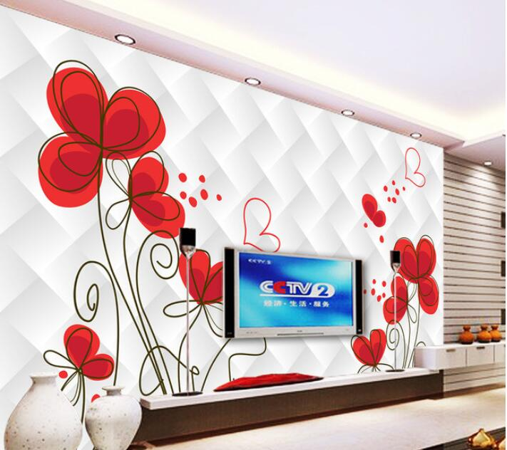 3d wallpaper custom mural non-woven wall sticker  The sitting room 3 d TV setting wall flower painting wallpaper for walls 3d