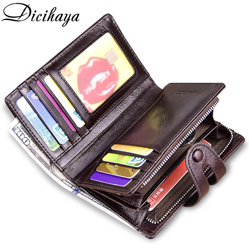 DICIHAYA NEW ARRIVE Genuine Leather Mens Wallet Man Cowhide Cover Coin Purse Small Brand Male Credit&ID Multifunctional Wallets