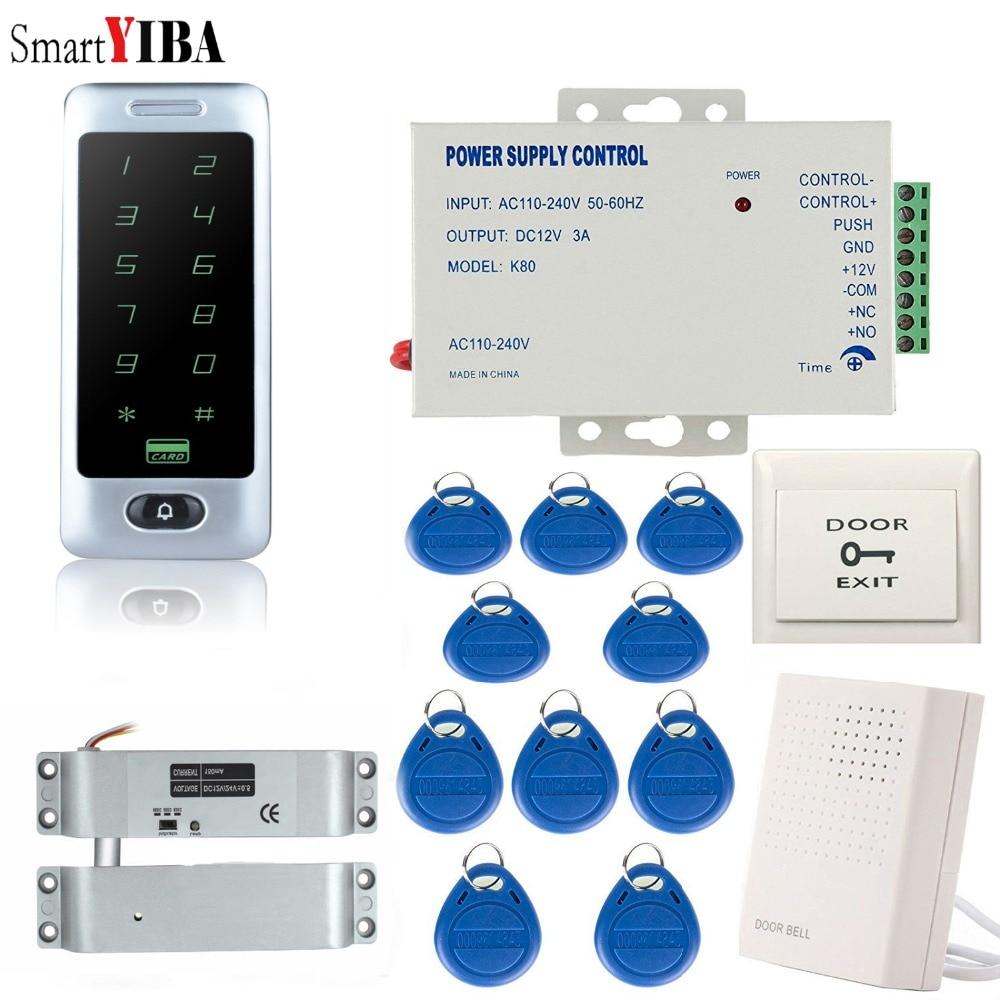 SmartYIBA Tactile Système de Contrôle D'accès En Métal Kit + 10 pièces Cartes D'IDENTITÉ Porte Serrure de Porte D'entrée D'alimentation Serrure de Porte De Contrôleur