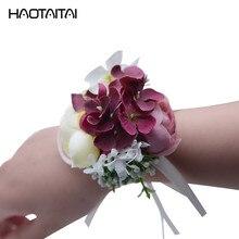 1 pcs Hot Sale Wrist Corsage Bracelet Bridesmaid Sisters Hand Flowers Wedding Party Bridal Prom Accessories