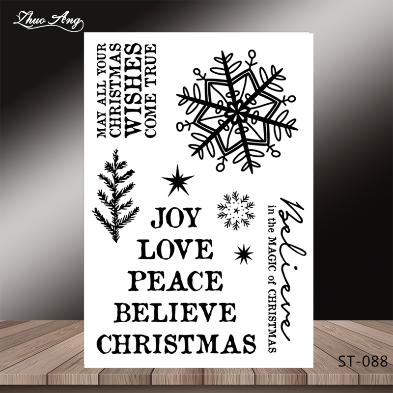 ZhuoAng Christmas tree/Snowflake Transparent and Clear Stamp DIY Scrapbooking Album Card Making Decoration