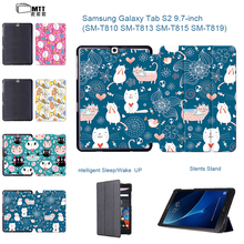 "Luxury Cute Cartoon Cat Painted PU Leather Flip Fundas Case For Coque Samsung Galaxy Tab S2 9.7"" SM-T810 T815 inch Tablet Cover"